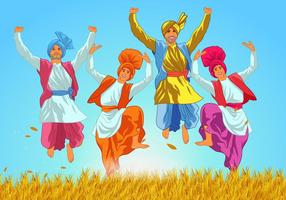 Classic Bhangra Dansers Vector