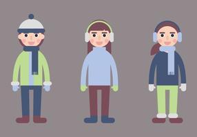 Niños en vectores abrigo de invierno