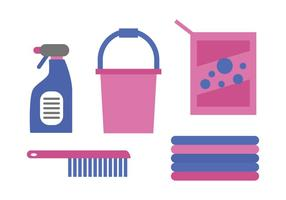 Vettori di rifornimenti di pulizia rosa