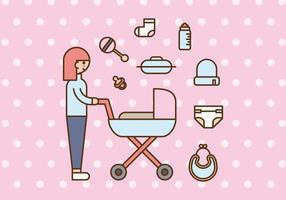 Babysitter rosa o mamá y el bebé Vectores