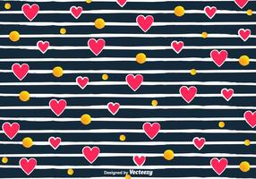 Vector Love Pattern With Hearts And Stripes