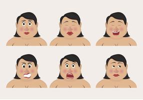 Curvilínea mujer emoticonos