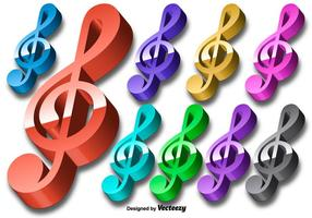 Vector 3D Colorful Key Violin Icon Set