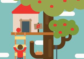Flat Speelse Treehouse Vector