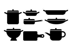 Cocina ollas y sartenes Vectores