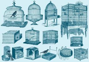Bird Cages And Nests vector