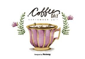 Free National Coffee Day Watercolor Vector