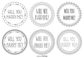 Leuke Marry Me Hand Drawn Lables