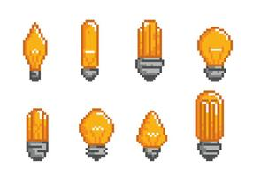 Ampoule Light Bulb Pixel Icons vector