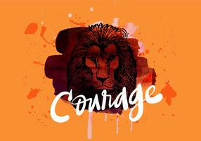Courage Lion Aquarelle
