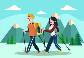 Nordic-Walking-Wohnung Vektor-Illustration