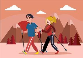 Nordic Walking Flat Vector illustration