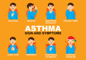 Los signos y síntomas de asma vector gratuito