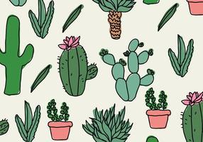 Cactus Doodles Pattern vector