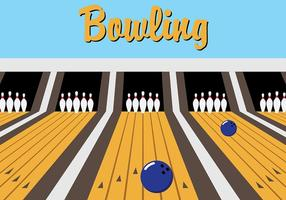 Blue Retro Bowling Lane Vector