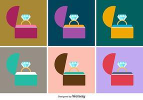 Anillo caja de iconos vectoriales
