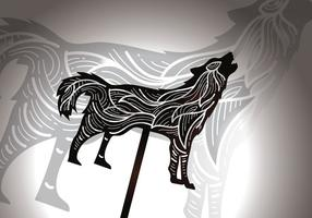 Gratuit Loup Hurlant Shadow Puppet Vector Illustration