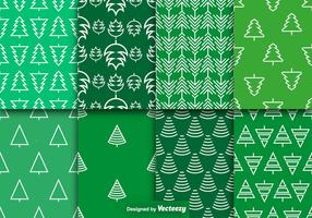 Vector Pine Trees Seamless Patterns Set