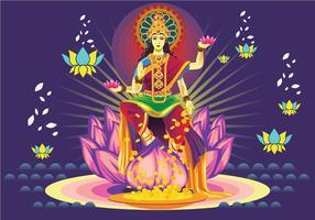 Fri Mörkblå Goddess Lakshmi vektor