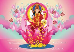 Free Pink Goddess Lakshmi Vector