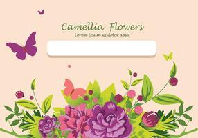 Kamelia blommor inbjudan kortdesign illustration