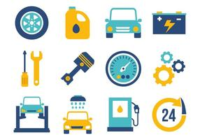 Flat Car Maintenance Icons Vector