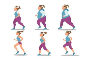 Jogging Girl Vector Set