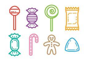 Esbozado vector iconos del caramelo