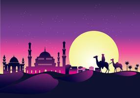 Vector Illustration Caravan med kameler på natten med moskén och arabiska Sky på natten