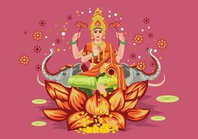 Pink Illustration of Goddess Lakshmi