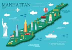Manhattan Carte Vector Illustration