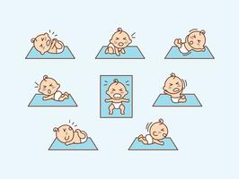 Cartoon Flat Crying Baby Vector