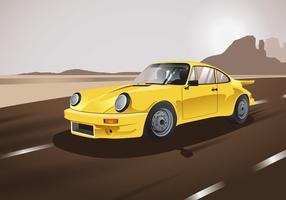 Classic Carros Amarelo Vector