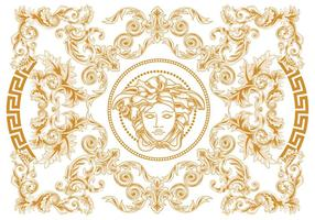 Modern Elegant Abstract Geometric Swirl and Carving Vector Versace Style