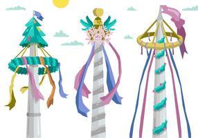 Kleurrijke Maypole Europan Folk Festival Vector