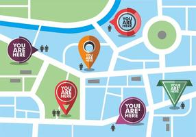 Map with You Are Here Vector Icons