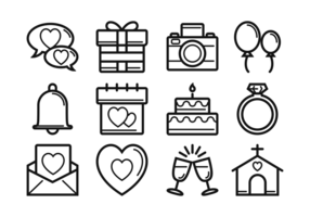 Boda Thin Line Icons vector