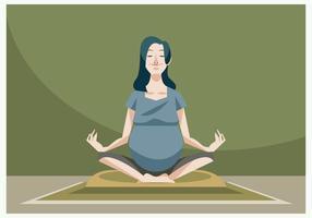 Mujer embarazada hermosa que hace yoga vector embarazada