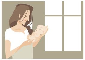 Mama joven hermosa con su bebé recién nacido Vector