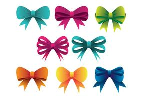 Colorful Hair Ribbon Icons Set