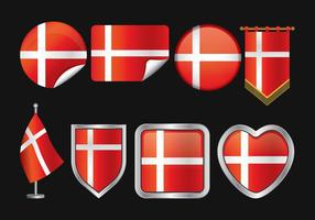 Danish Flag Vector Pack