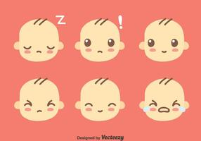 Cute Baby Face Collection Vector