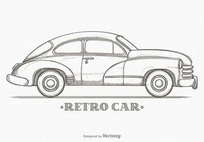 Hand Drawn Sketch Retro Car Vector