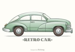 Colored Hand Drawn Sketch Retro Car Vector