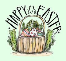 Easter Basket Vector Background