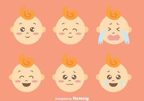 Platta söt baby expressionsvektorer