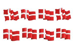 Conjunto de la bandera de Dinamarca, o la bandera danesa