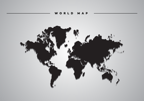 Ombre portée Carte du monde Vector