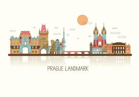 Prague Colorful Skyline Vector