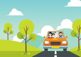 Familia Vacation Cartoon Free Vector